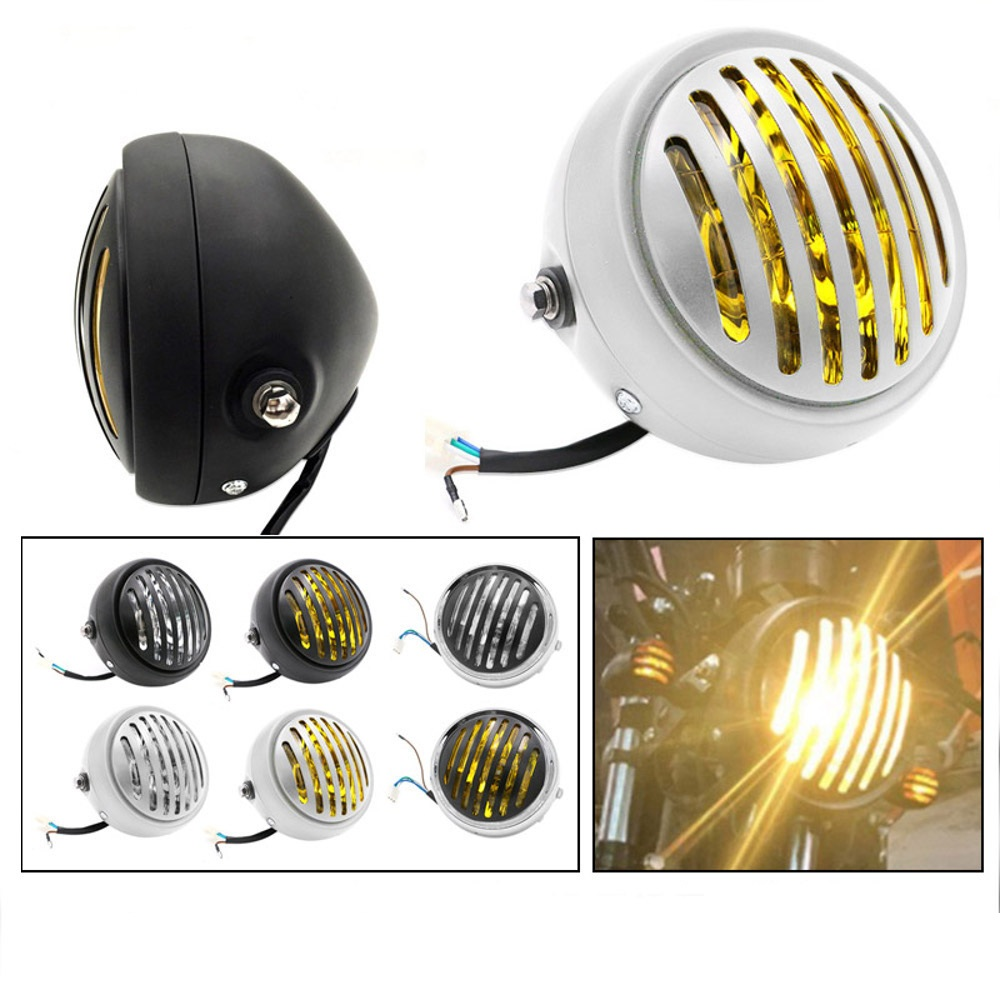 1Pc Motorcycle Headlight Black Metal Retro Headlight 35W Front Light 12V Fits For Cafe Racer CG125 GN125 2 Colors
