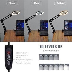 Image 5 - Toolour 5X 용접 돋보기 USB 3 색 LED 조명 램프 루페 읽기 재 작업 납땜 돋보기 유연한 데스크