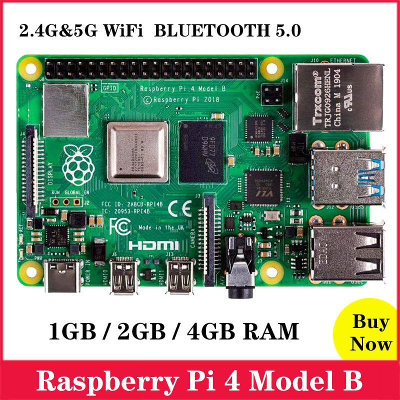 Original Raspberry Pi 4 Model B 1GB/2GB/4GB RAM BCM2711 Quad Core Cortex-A72 ARM V8 1.5GHz 2.4/5.0 GHz WIFI Bluetooth 5.0 RPI 4B