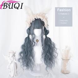 BUQI-perruque synthétique ondulée avec frange, pour Cosplay Lolita avec frange, cheveux Ombre, blond, noir, brun, violet, gris, bleu foncé, résistants à la chaleur