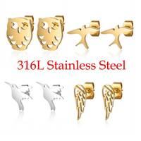 100% 316L acier inoxydable nuit hibou bourdonnement oiseau hirondelle boucle d'oreille pour les femmes livraison directe Simple bijoux cadeau jamais ternir