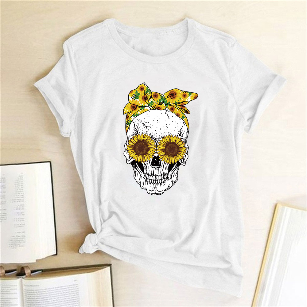 2020 New Model Funny Skull Punk Cotton T Shirt Women Fashion Casual Short Sleeve Sun Flowers Tshirts Chemise Femme Tops Mujer