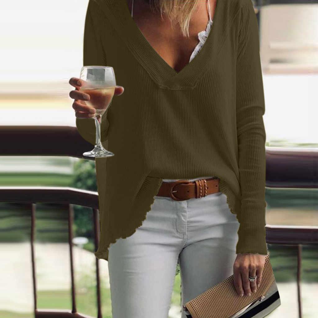 女性ファッションカジュアルロングスリーブソリッド V ネックルーズアンダーシャツブラウスドロップシッピングレジャー男性女性ホット winterHot winte