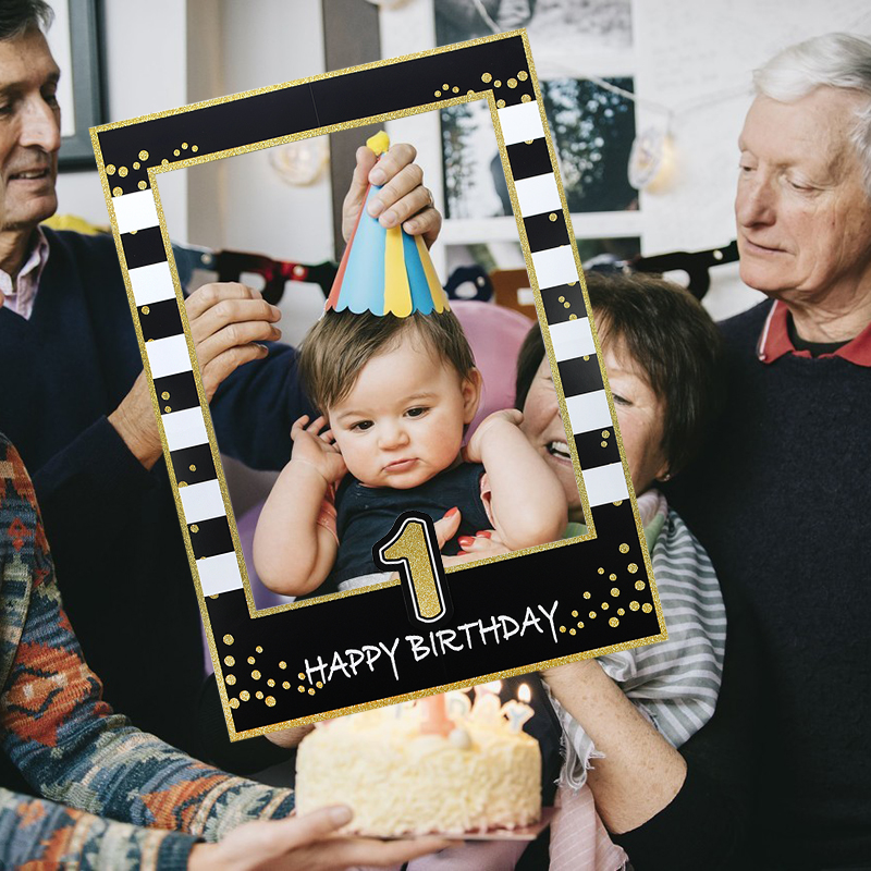 1st/18/21th/30th/40th/50th/<font><b>60th</b></font> <font><b>Birthday</b></font> Photo Props Black Gold Paper Photobooth Prop For Baby Shower Kids <font><b>Birthday</b></font> Party <font><b>Decor</b></font> image