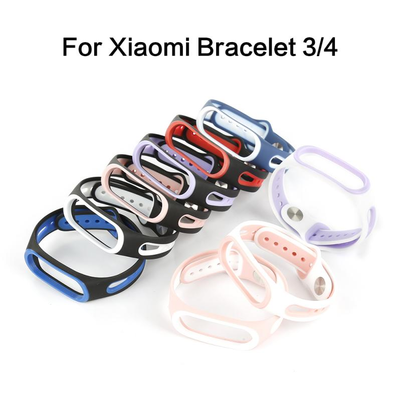 Colorful <font><b>Silicon</b></font> Wrist for Xiaomi <font><b>MI</b></font> <font><b>Band</b></font> <font><b>3</b></font> Miband <font><b>4</b></font> Sport <font><b>Strap</b></font> Smart <font><b>Bracelet</b></font> Watch Dual Color Replacement <font><b>WristBand</b></font> TXTB1 image