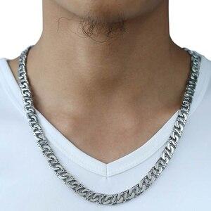 Image 2 - Davieslee メンズネックレス 316L ステンレス鋼バイカーチェーンネックレス男性のためのシルバー色パンクジュエリー 9.5 ミリメートル 18 36 インチ LHN01