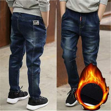 New Brand Winter Boys Jeans Thicken Boys Jeans Warm Kids Trousers Elastic Waist Demin Pants For Children Causal Baby Boy Jeans