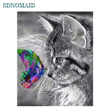 SDOYUNO 5d DIY Diamond Painting Full Square Cat and butterfly Mosaic diamond embroidery paintings rhinestone pictures dazzle butterfly prints diamond paintings