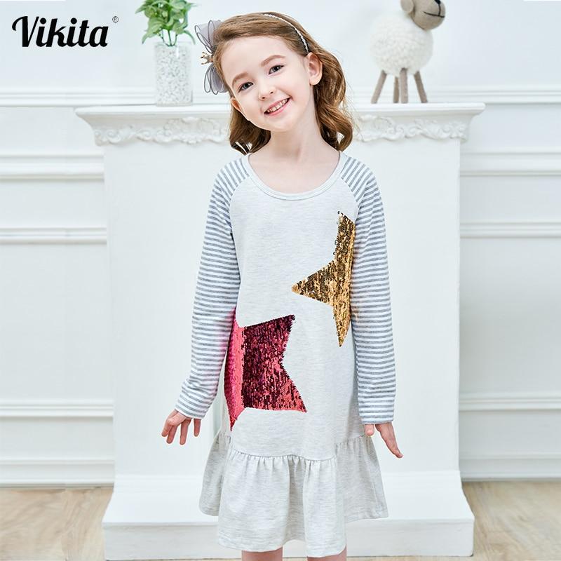 VIKITA Kids Dresses For Girls Costume Long Sleeve Cotton Princess Dress Children Clothes Reversible Sequined Baby Girls Dress
