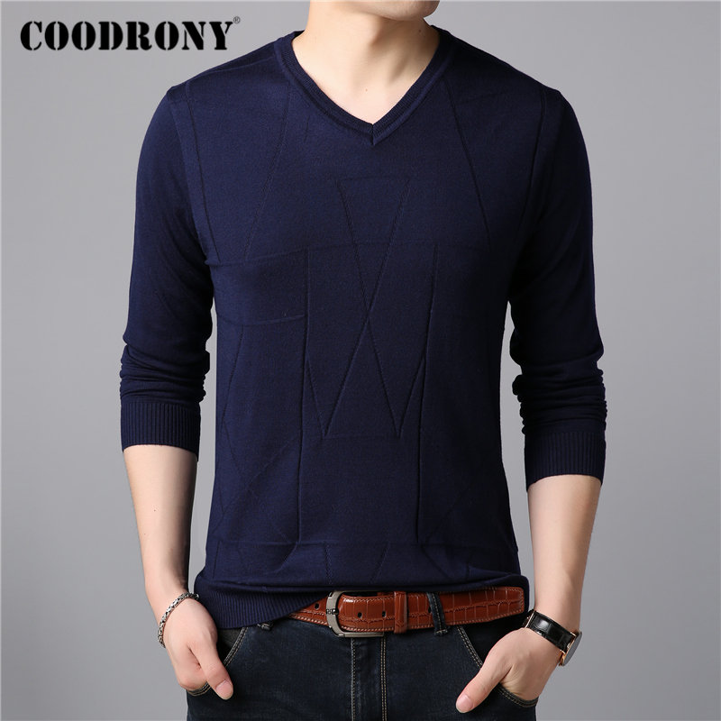 COODRONY Brand Sweater Men Casual V-neck Pull Homme Knitted Cotton Wool Pullover Men Clothes Autumn Winter Jumper Sweaters 91078