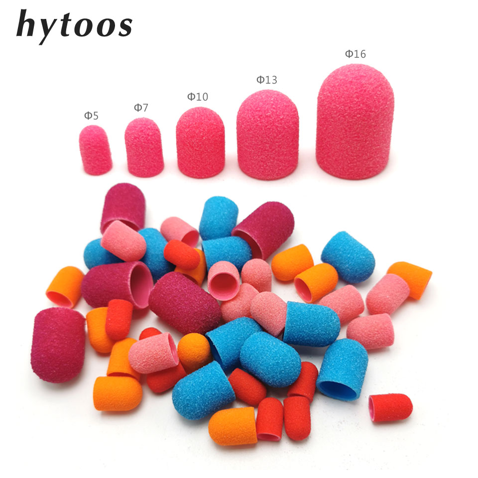50Pcs Plastic Sanding Caps Nail Drill Accessories Pedicure Care Polishing Sand Block Foot Cuticle Remove Tool With Rubber Grip