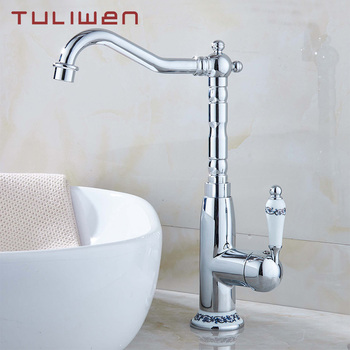 Bathroom Basin Kitchen Sink Faucet Cold Hot Mixer Taps Swivel Spout Single Handle Totally Brass Chrome Finish antique brass double handle bathroom faucet swivel spout kitchen mixer faucets hot and cold basin sink mixer tap kd1206