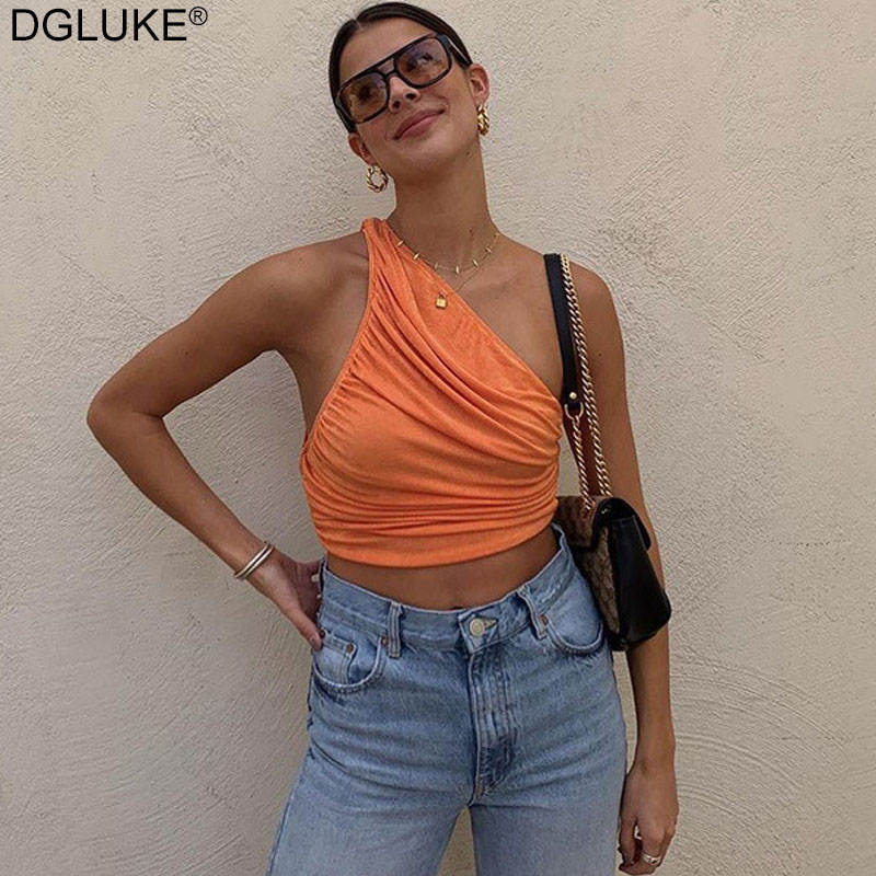 Um ombro topo de colheita feminina sexy sem mangas ruched tank top verão branco preto azul laranja simples tanques curtos camis