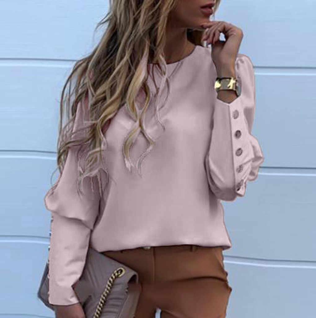 여성 메탈 버튼 셔츠 오-넥 솔리드 싱글 브레스트 티셔츠 긴 소매 탑 패션 봄 가을 레이디 풀오버 탑스 신규