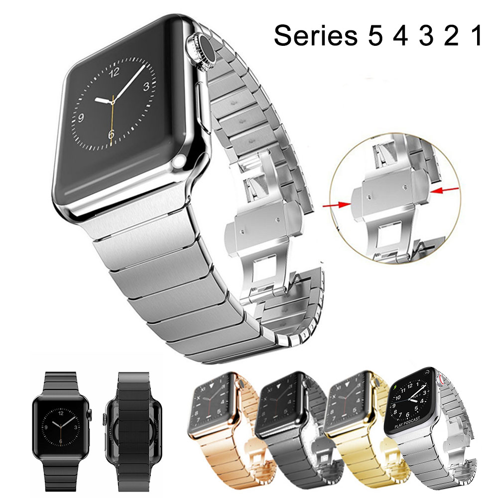 Stainless Steel Strap For Apple Watch Band 44mm/40mm Series 5 4 3 2 Link Bracelet For IWatch 42mm 38mm Luxury Belt
