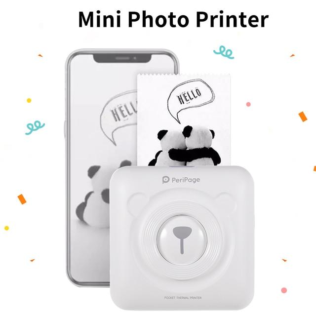 Mini impressora de papel bluetooth sem fio portátil, impressora de papel impressão térmica de bolso conexão usb