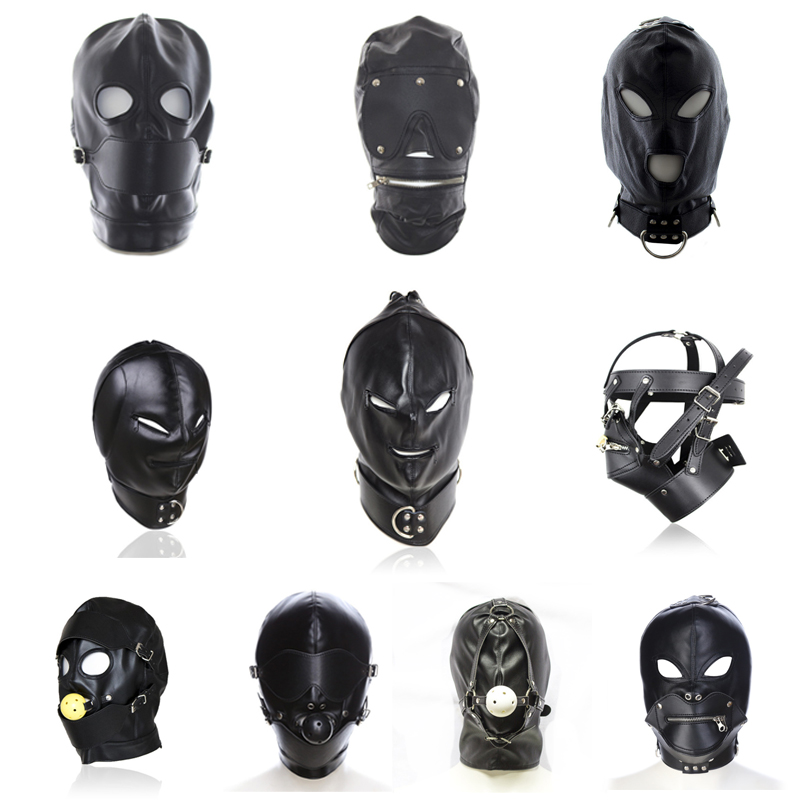 Sm Sex Black Pu Leather Head Bondage Hood Mask Open Eye Mouth With Zipper Erotic Couple Flirting Toys Adjustable Mask Cosplay