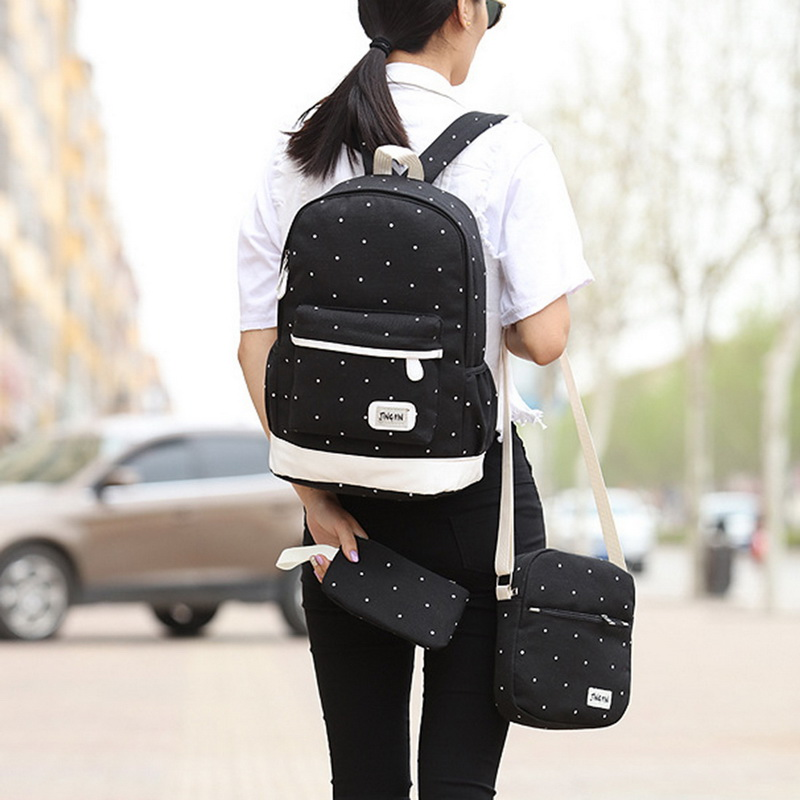 Canvas Backpack Three-Piece-Set School-Bag Water-Proof Student-Bags Women Wave-Point