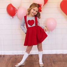 Детская одежда для маленьких девочек, 2 предмета наряды на День святого Валентина Топы в горошек с сердечками, юбки на подтяжках комплекты одежды для девочек