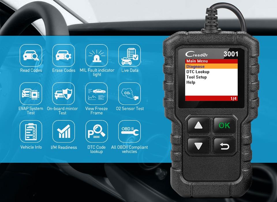 CR3001 полный OBD2 сканер OBDII код ридер автомобильный диагностический инструмент выключения двигателя светильник бесплатное обновление pk cr319 ...