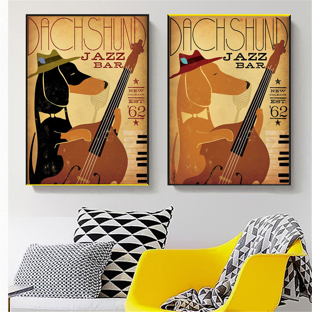 Wall Art Retro Music Dog Funny Animals Dachshund Jazz Bar Decor Wall Pictures for Living Room Home Decor Canvas Painting image