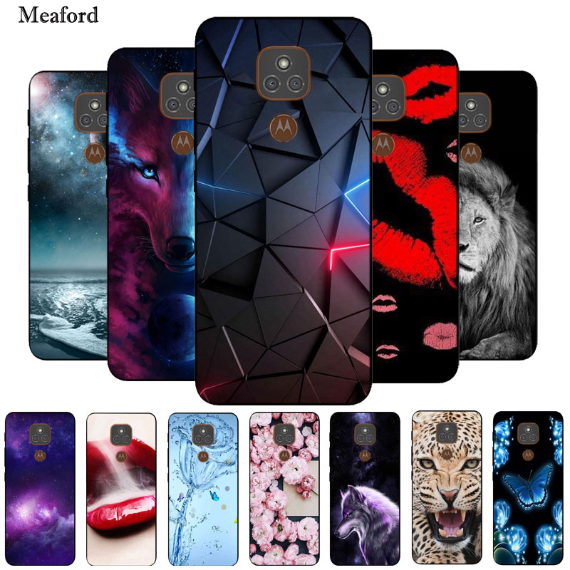 For Moto E7 Plus Case Black Bumper Silicone TPU Soft Phone Cover For Motorola Moto E7 Plus Case Cartoon Funda E 7 Plus E7Plus