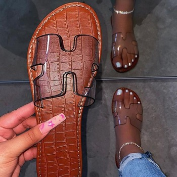 Women Shoes Flat Slippers Summer Shoes Open Toe Roman Beach Sandals Ladies Sexy Flip Flops Black Non-slip Slides