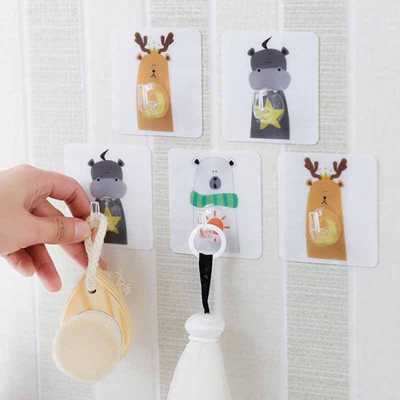 Strong Sticky Hook Animal Cartoon Pattern Bathroom Kitchen Storage Hook On The Wall Multi-function Key Clothes Towel Rack
