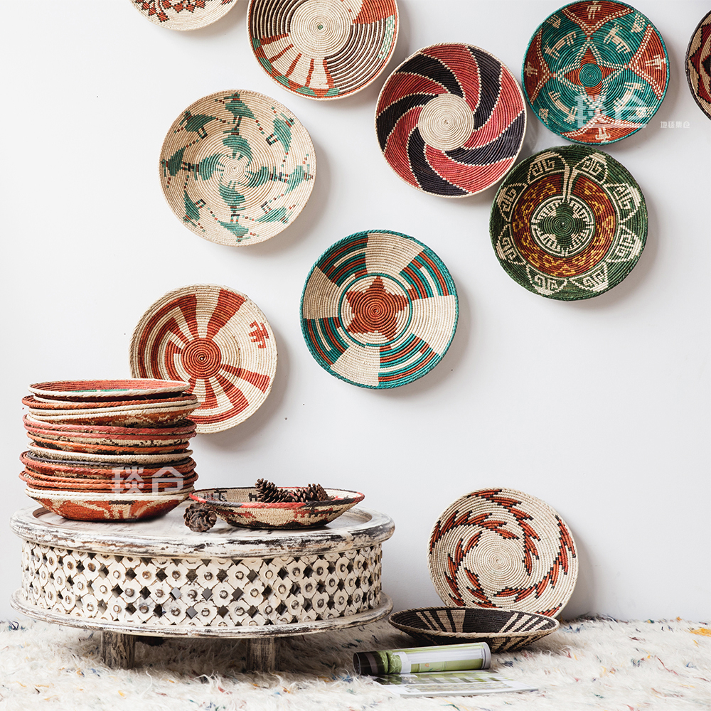 Handmade Wall Plates Hanging Decoration Fruit Plate Straw Art