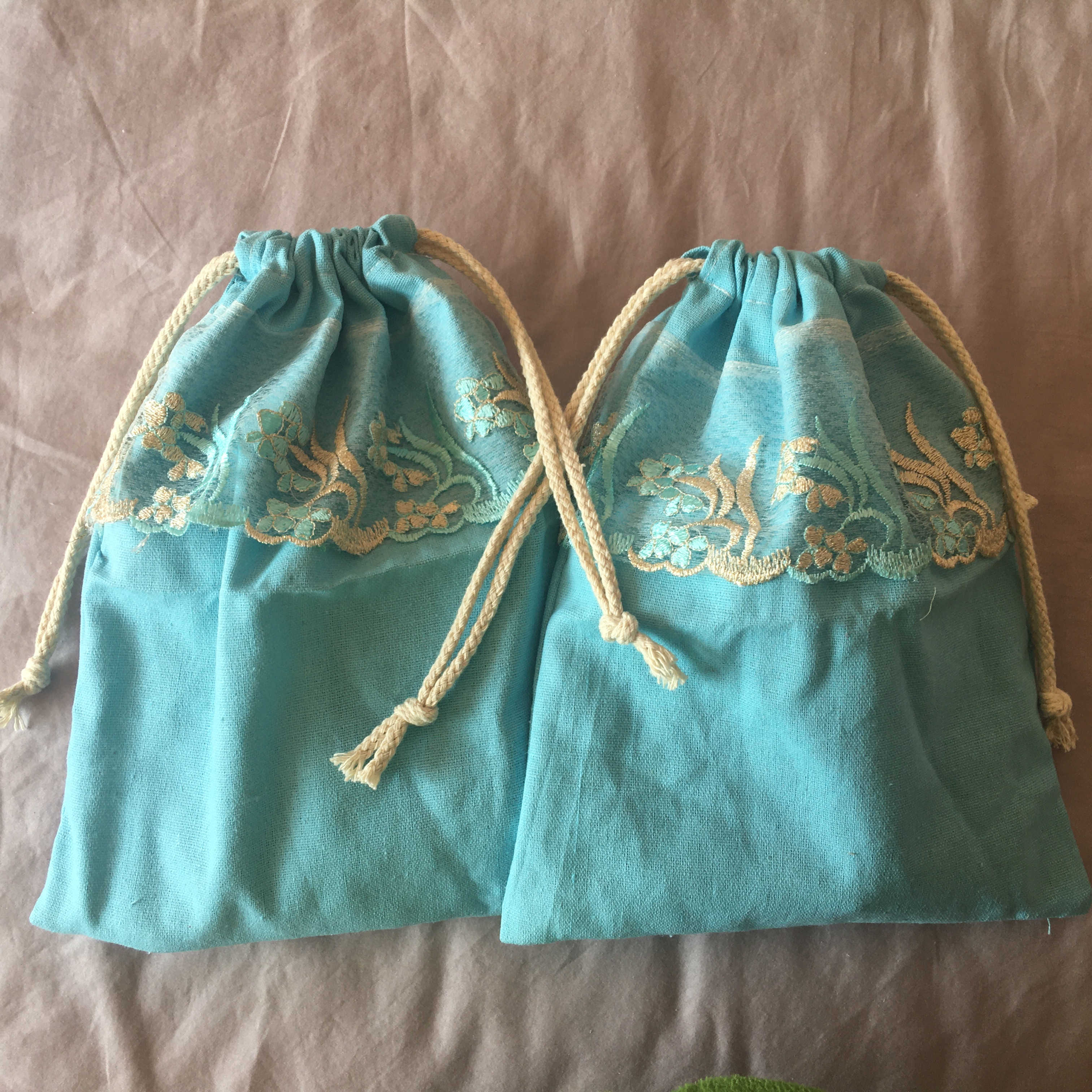 1pc Cotton Linen Drawstring Eco Organized Pouch Party Gift Bag Embroidered Trim Blue YL320g