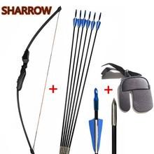 цена на Archery Bow Arrow Kits 40lbs Straight Hunting Bows Recurve Bow With 6pcs Fiberglass Arrows Finger Guard For Hunting Shooting