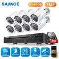 Camera Sannce 8CH 5MP Hd Poe Network Video Sistema di Sicurezza 5MP H.265 Nvr con 8 Pcs 5MP 30M Exir di Notte ir Visione Notturna Intemperie Ip Camera Kit