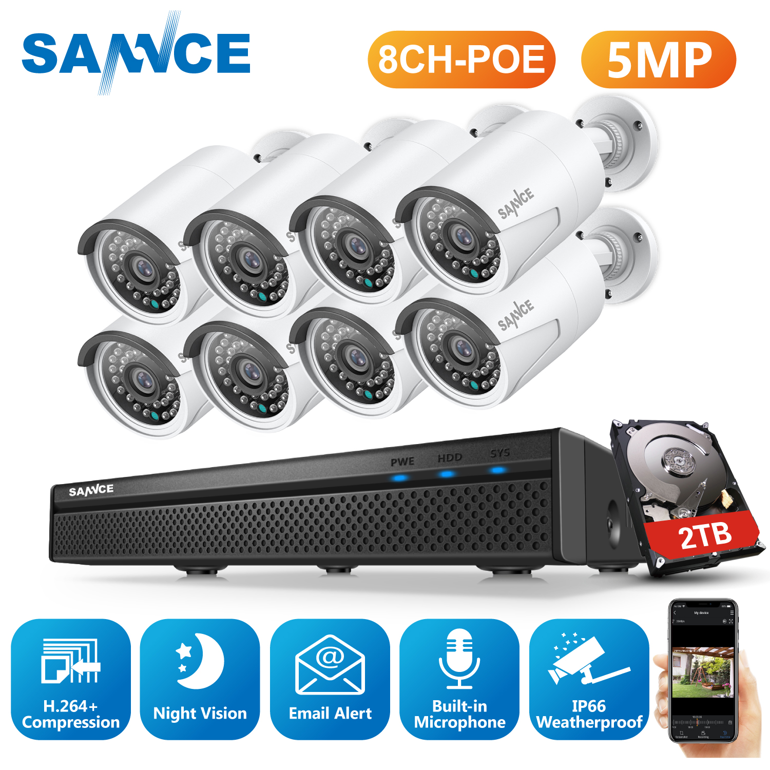 SANNCE 8CH 5MP HD POE Network Video Security System 5MP H.265 NVR With 8PCS 5MP 30M EXIR Night Vision Weatherproof IP Camera Kit