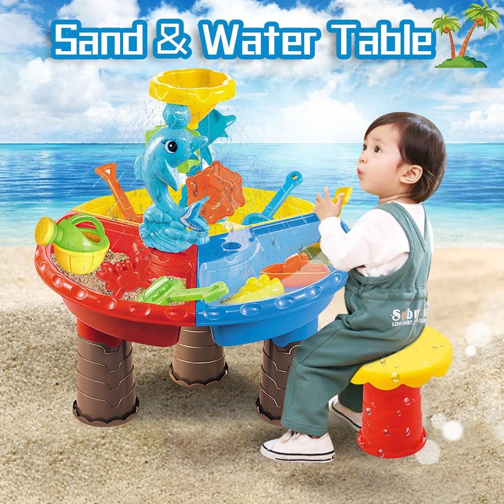 Kids Baby Sand Beach Toys Sand WaterTable Set Outdoor Garden Sandbox Set Play Table Summer BeachToy Games
