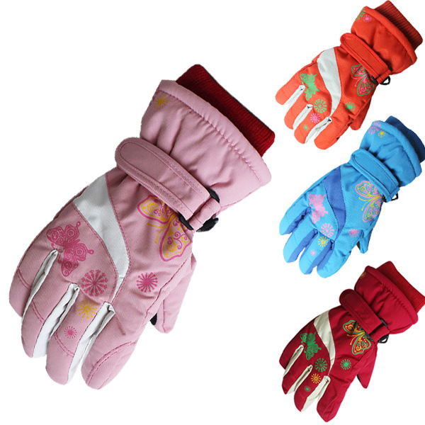 Children Snowmobile Winter Warm Ski Gloves Boys Girls Sports Waterproof Windproof Snow Mitten Adjustable Ski Strap Skiing Gloves