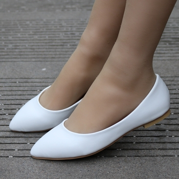 Crystal Queen New Women Shoes Flat Leather Platform Heels White Pointed Toe Girl Flats - discount item  35% OFF Women's Shoes