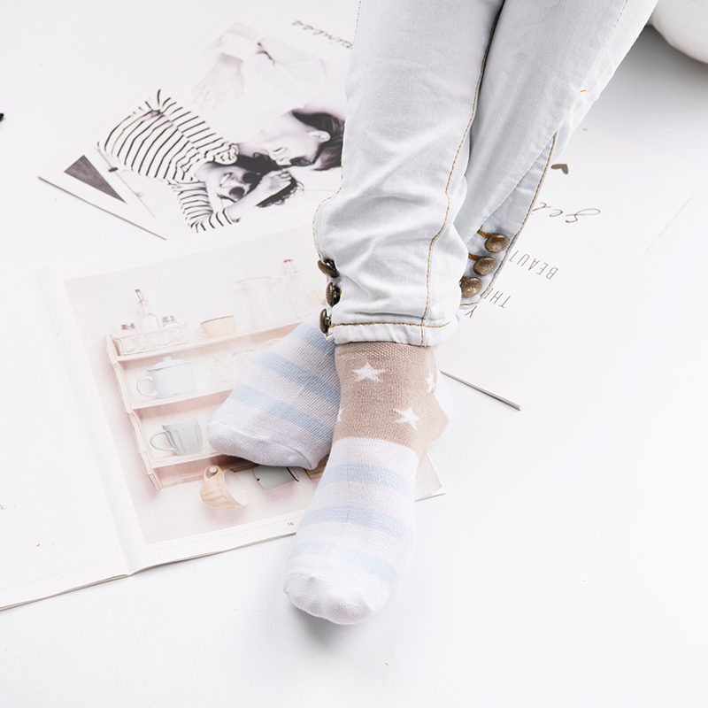 H307863039cc34b9a8e38c91faf70c17by - Cotton Boat Socks Woman Stars Stripe Socks ankle low female invisible color girl boy slipper casual hosiery  1pair=2pcs ws106