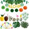 MEIDDING Palma verde hojas Banner globos látex fiesta decoración para Aloha Luau fiesta decoración de verano Hawaiano Fiesta Temática
