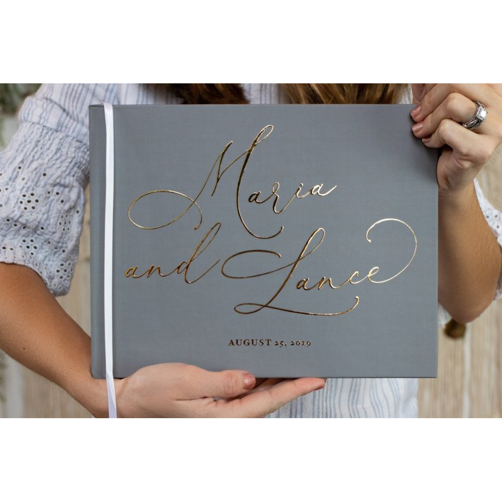 Personalize Gray Real Gold Foil Horizontal Wedding Book With Calligraphy Names, Hardcover Instant Photo Booth Albums