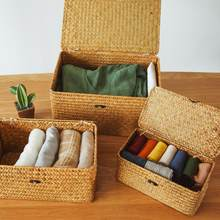 Seaweed with Button Woven Basket Straw Woven Debris Desktop Storage Box Hand-woven Storage Basket Clothing Storage Basket(China)