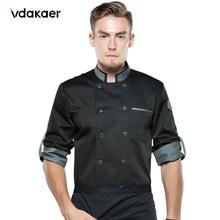 Camisa de chef Chef chaqueta largo ajustable manga hombres mujeres Unisex abrigo de cocinero Hotel restaurante cocina desgaste camarero uniforme