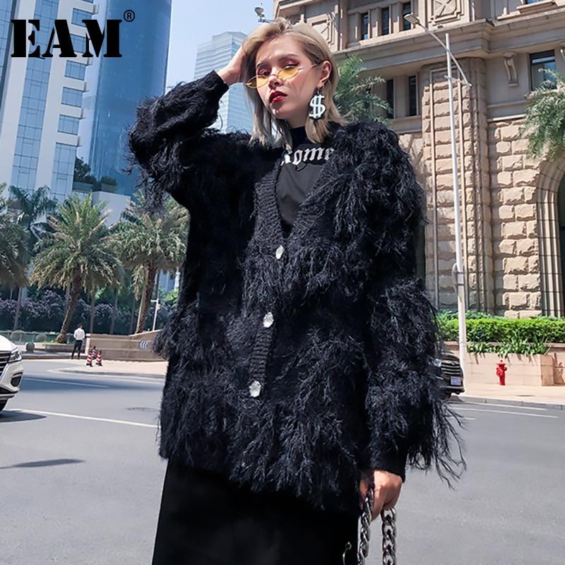 [EAM] Big Size Tassels Knitting Cardigan Sweater Loose Fit V-Neck Long Sleeve Women New Fashion Tide Autumn Winter 2019 1H884