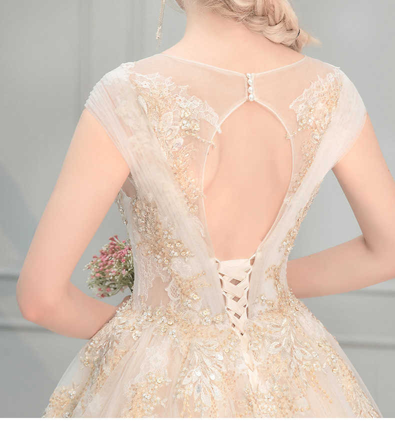 Luxo profunda pescoço V Beading Casamento Vestido de Festa com Delgado Princesa UMA linha de trem tribunal Sexy Grande Cauda Vestido de Noiva