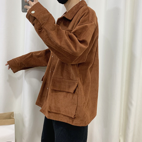 Autumn Corduroy Jacket Men Fashion Retro Solid Color Casual Cotton Jacket Man Streetwear Hip Hop Loose Coat Large Size M-5XL Islamabad
