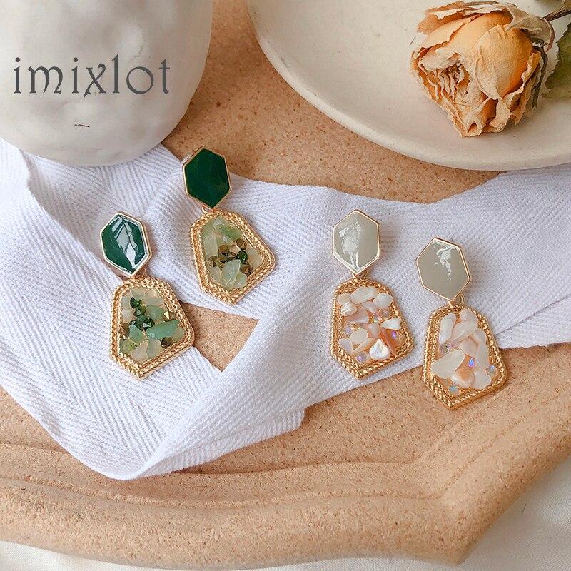 Korean Geometric Palace Style Natural Stone Rainstone Drop Earrings For Women Trend Shell Rhombus Metal Pendientes Серьги