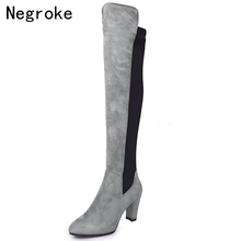 Women's Warm Boots 2019 Autumn Winter High Heels Over The Knee Boots Elastic Thigh High Boots Shoes Woman Bota Feminina 2018 hot autumn winter shoes woman leather thigh high boots pointy toe high heels design runway woman over the knee boots t