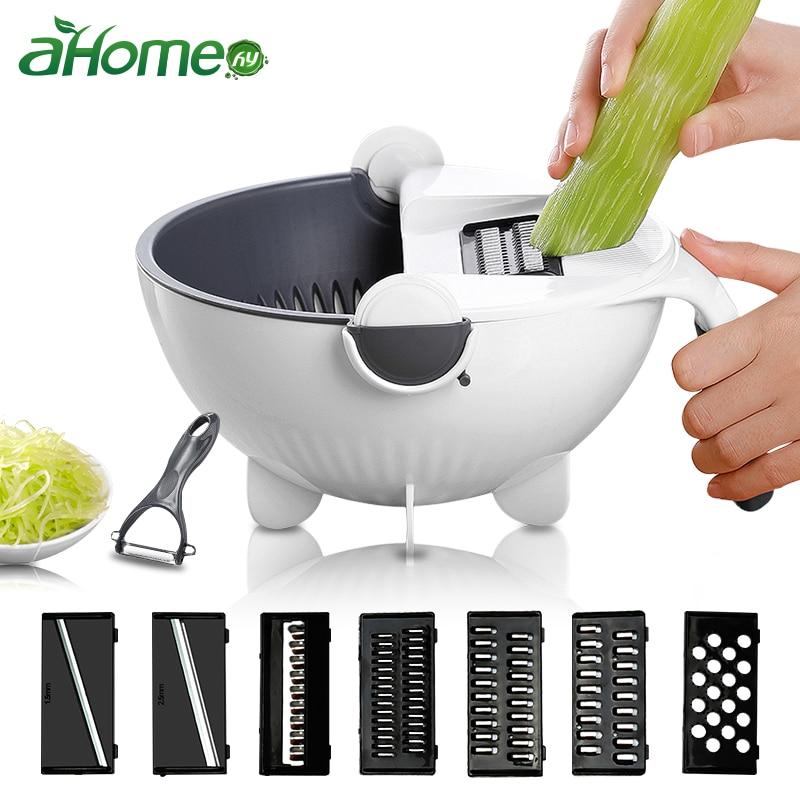 Manual Slicer Drainer Bowl Vegetable Fruit Cutter Kitchen Gadget  Mandoline Chopper Grater With Rotate Drain Basket Cutter| |   - AliExpress