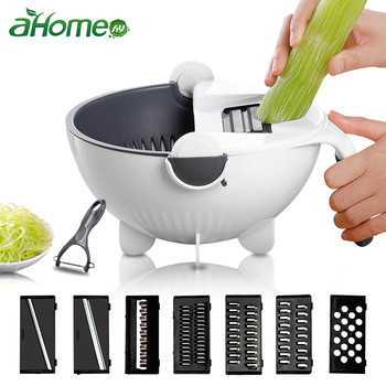 Manual Slicer Drainer Bowl Vegetable Fruit Cutter Kitchen Gadget  Mandoline Chopper Grater With Rotate Drain Basket Cutter