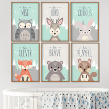 Owl Rabbit Bear Fox Deer Nursery Wall Art Canvas Painting Cartoon Posters And Prints Pictures Girl Boy Baby Kids Room Decor