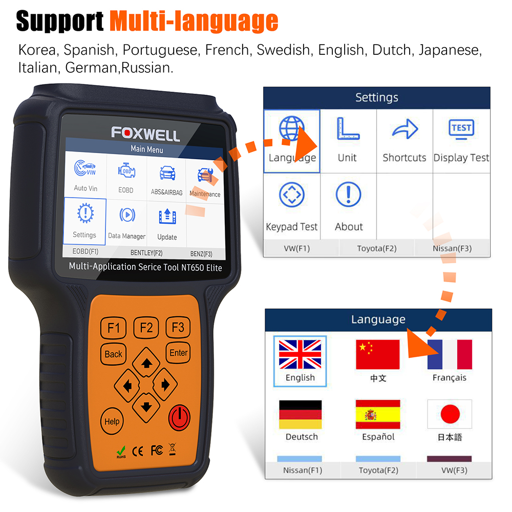 FOXWELL NT650 Elite OBD2 Automotive Scanner ABS SRS SAS DPF Oil Reset Code Reader 12